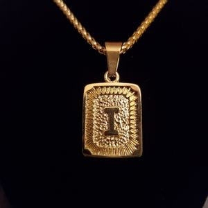 """New Gold Plated Initial """"I"""" Box Chain Necklace"""
